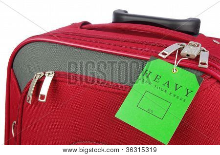 red travel case and label