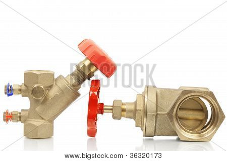 Plumbing valves on a white background