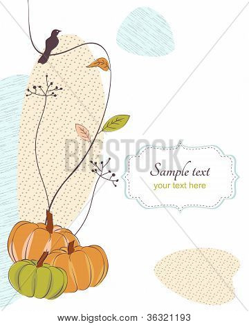 Autumn retro background with bird, flora pumpkins and frame for text