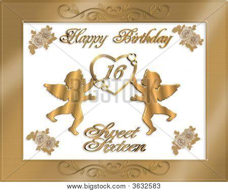 Birthday Invitation Sweet 16 Gold Satin