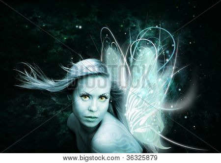 Fairy Woman Over Dark Background