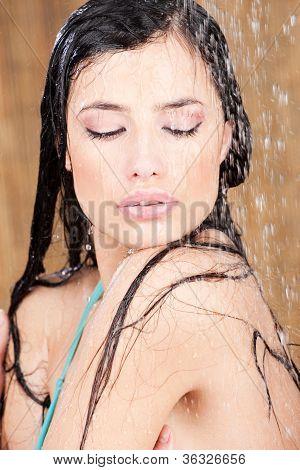 Sensual Woman Under Shower