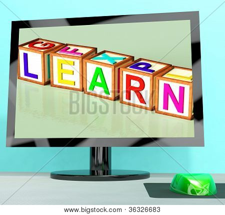 Learn Blocks On Computer Screen Showing Online Kids Education