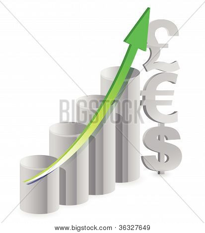 currency illustration graph over a white background