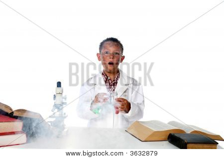 Chemist Child Making Smoke From His Test Tube And Beaker