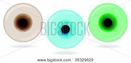 Three color glassy eyes