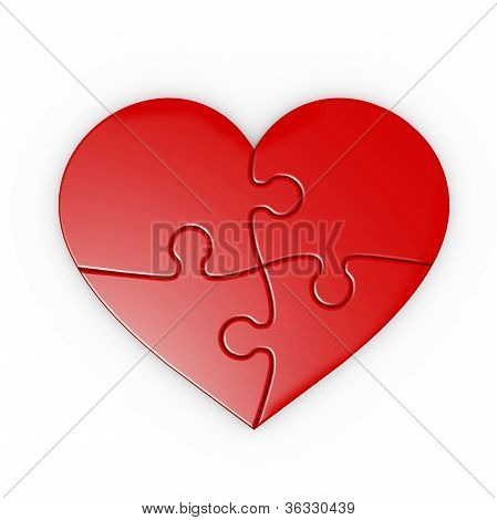 Puzzle Of A Red Heart . Isolated Jigsaw With Clipping Path