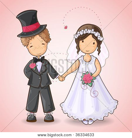 Wedding card with groom and bride