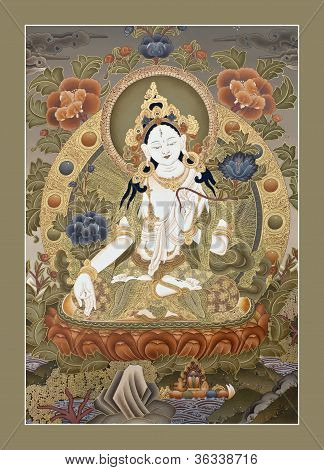 tibetische Tangka weiße tara