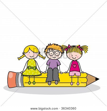 children sitting on a pencil