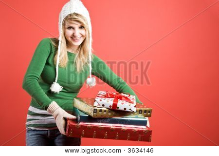 Caucasian Girl With Gifts On Holiday