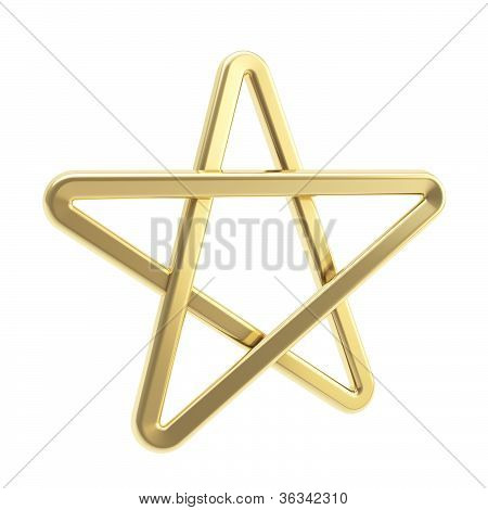 Golden Pentagonal Five-pointed Star Symbol Isolated