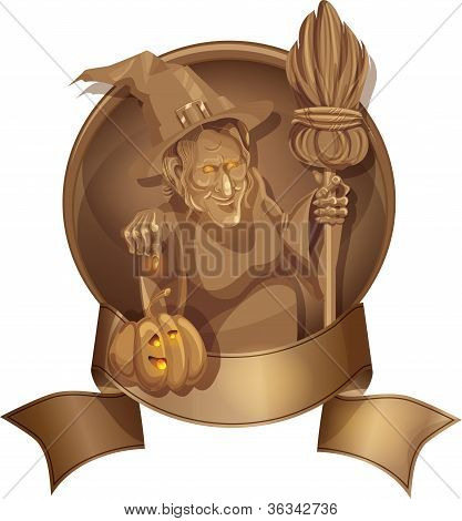 Old Witch With Besom And Sinister Look Point Up  Pumpkin Placed On The Banner