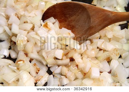 Onion being fried