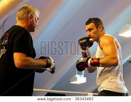 Current  World heavyweight champion boxer Vitali Klitschko  getting ready for championship fight