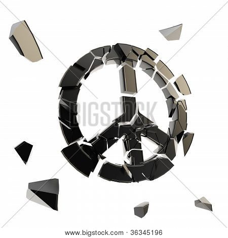 Peace Icon Broken Into Tiny Black Pieces Isolated
