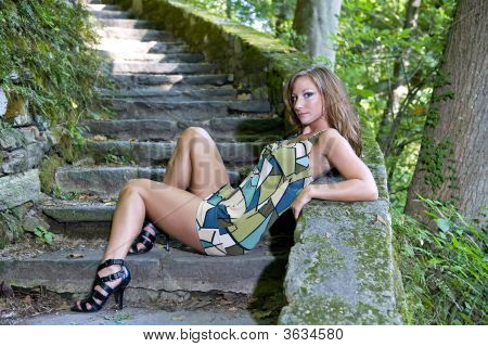 Beautiful Girl Posing On Steps