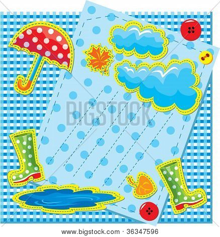 Hand Made Frame In Autumn Style With Rain, Clouds, Puddle, Rubber Boots And Umbrella - Is Made Of Po