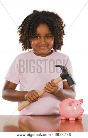 Happy Girl With Hammer And Money Box