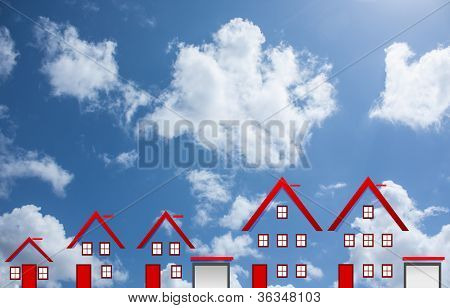 dream houses with clouds