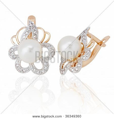 Jewelry Earring With Pearl And Diamonds On White Background