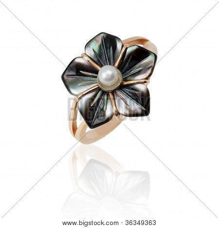 Jewelry Ring With Nacre And Pearl On White Background