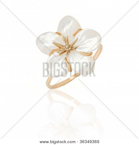Jewelry Ring With Nacre On White Background