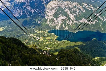 Ropeway between mountain Vogel and lake Bohinj