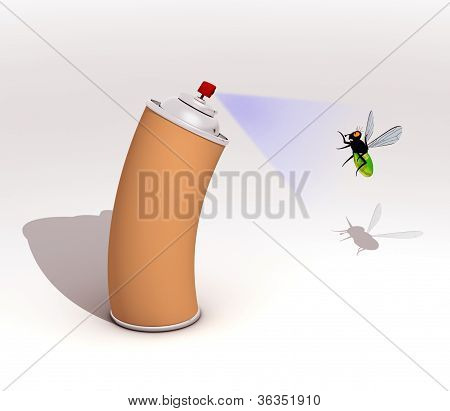 insecticide spray and fly