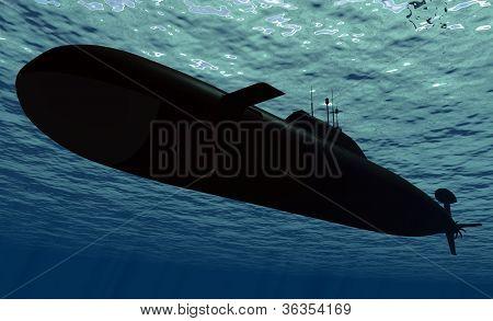 Submarine  under water.