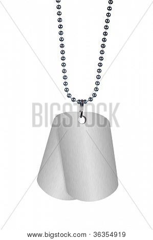 A blank set of dog tags hanging against a white background.  Tags are empty for placement of copy.