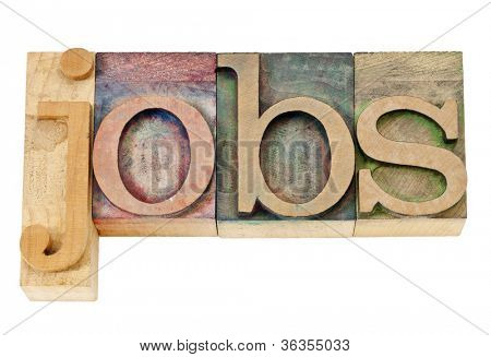 jobs - isolated text in vintage letterpress wood type stained by color inks
