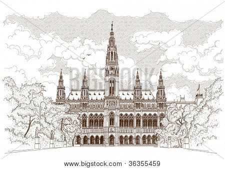 Vector drawing of Town Hall in Vienna, Austria
