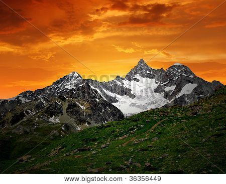 sunset on the Ober Gabelhorn - Swiss Alps