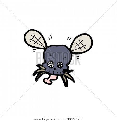 gross skull buzzing fly cartoon
