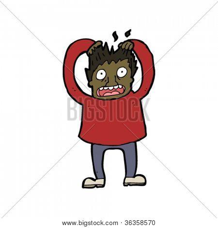 man pulling out hair cartoon