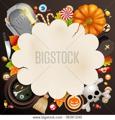 Halloween card with different objects and place for text. Check my portfolio for vector version.