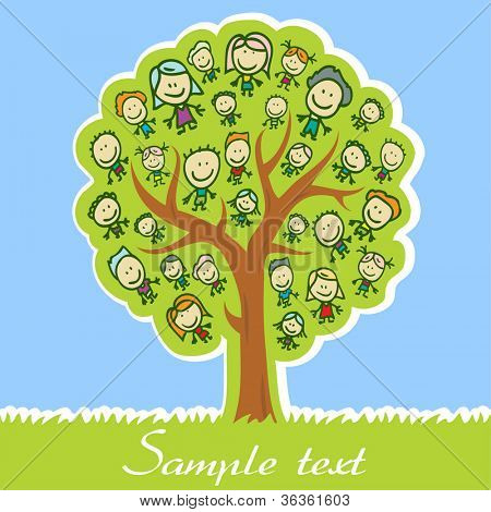 Greeting card with tree of family with kids