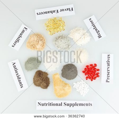 Nutritional supplements isolated on white close-up