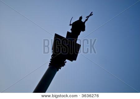 Zygmunt Column Silhouette In Warsaw