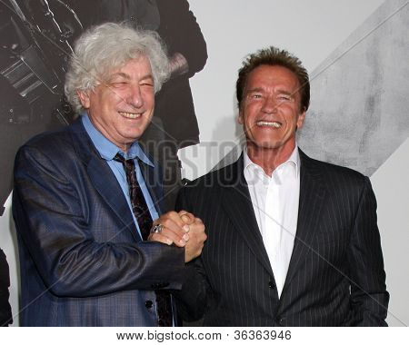 Los Angeles - AUG 15:  Avi Lerner, Arnold Schwarzenegger arrive at the