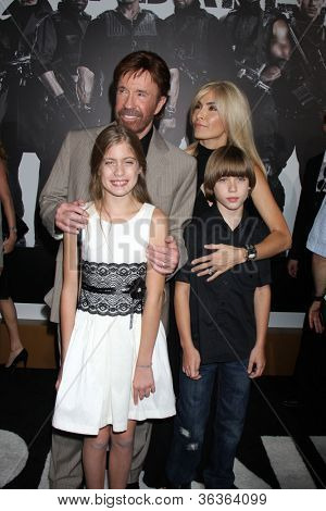 "Los Angeles - AUG 15:  Chuck Norris, family arrive at the ""The Expendables 2""  Premiere at Graumans Chinese Theater on August 15, 2012 in Los Angeles, CA"