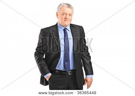 A serious mature businessman posing isolated against white background