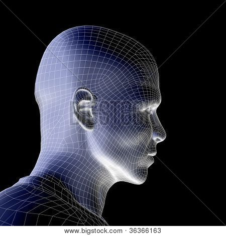High resolution concept or conceptual 3D wireframe human male head isolated on black background as metaphor for technology,cyborg,d igital,virtual,avatar,model,science,fiction,future,mesh or abstract