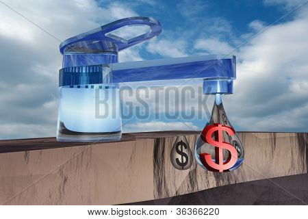 High resolution concept or conceptual abstract tap with drop falling over blue sky background as metaphor for money,dollar,crisis ,finance,economy,waste,banking,business,loss,source,wealth or rich