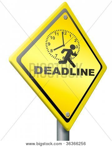 deadline working against clock, time pressure hurry up for time schedule trying not to be to late but on time