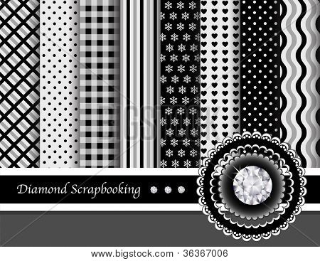 Diamond digital scrapbooking paper swatches in elegant black, white and grey. EPS10 vector format.