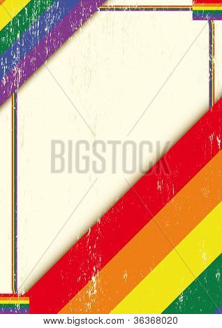 Gay grunge letter. A poster with a gay flag for a poster