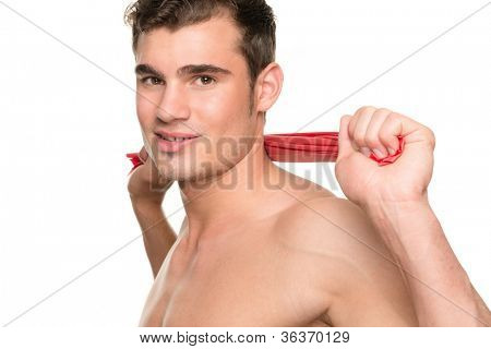 Man with gymnastic band in front of white background