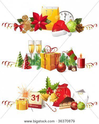3 highly detailed Christmas borders